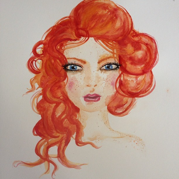 I don't wanna outline her! #illustration #watercolour #ginger