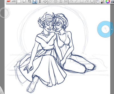 Kanaya and Rose. Very rough.  I may never finish this drawing, I don't know. I started it a couple of nights ago, but my fiancé has been taken seriously ill (no diagnosis yet, but they are treating for encephalitis) and is in hospital. We're still awaiting the results of tests, and they still have MRIs and EEGs to run. In a minute I'll hop on a bus to the Royal Adelaide Hospital and see him. He's a bit out of sorts, and doesn't remember things clearly, mixes things up, etc. He doesn't know why he's in the hospital a lot of the time, and he's even forgotten things like his job a couple of times. Sometimes he's better and sometimes he's worse (he was lucid yesterday but he's acutely confused again overnight). He was asked what his last memory is, and he says he remembers sitting in the study on his laptop, drawing this picture. :/ I remember him watching me sketching it…