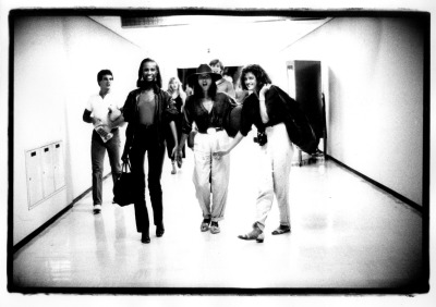 Iman, Janice and the crew arriving in Japan for the Calvin Klein runway show, 1979.