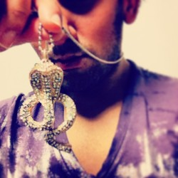 Waiting for tonight. Silver menswear serpentine jewelry #jewelry #snake #menswear #style #fashion #silver #bling #hunk #boy #men #neck #guyswithstyle #sexy #lips #night #party #life    (at Marquee)