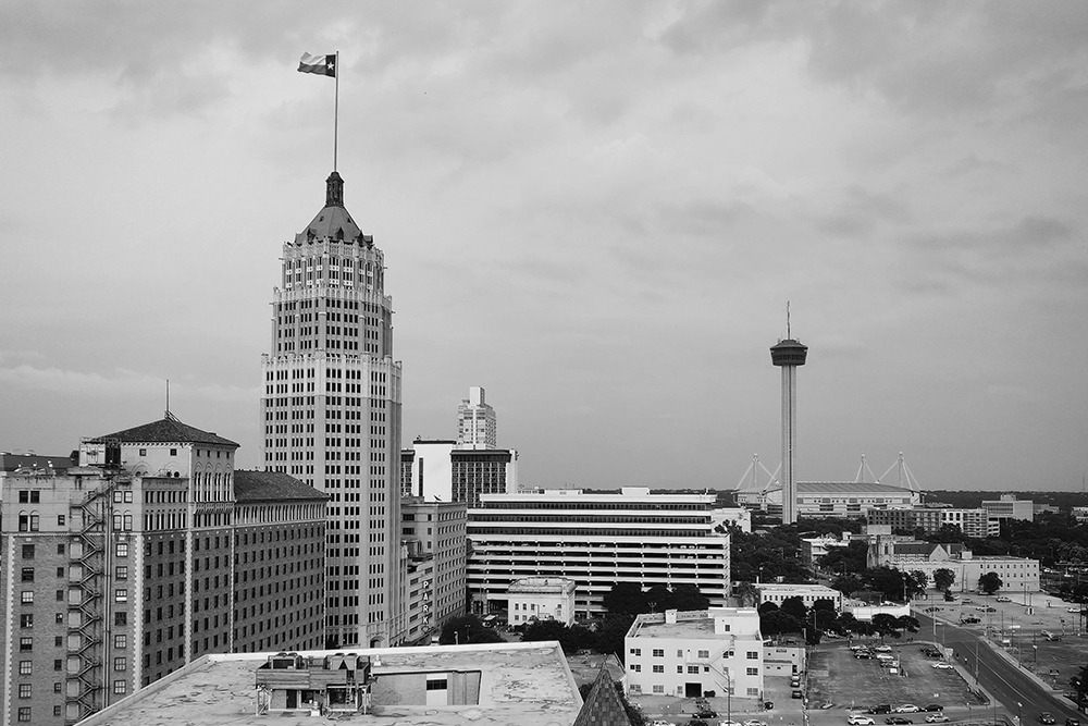 East Side perspective A view of downtown San Antonio from the Paul Elizondo Tower. #mrtravelesque#travel#travel blogger#traveler#satx#san antonio #san antonio texas #cityscape#city view#travel photography#travel photographer #jade esteban estrada #bwphoto#bwphotography