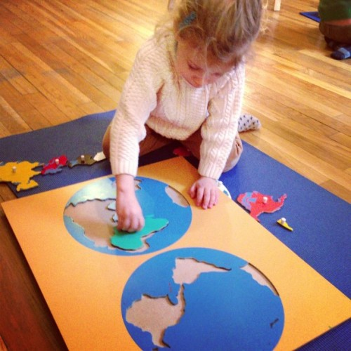 Learning the continents. #montessori