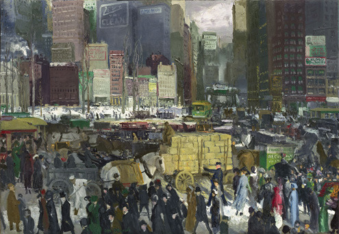 New York, by George Bellows. 1911. Bellows generally preferred to paint Manhattan's periphery. In this unusual composite view of a midtown business district, which pertains most closely to Madison Square, he presents the city as a place in constant flux. Packing the scene with skyscrapers, billboards, and chimneys spewing smoke; an elevated train station and tracks; horse-drawn carriages and motorcars snarled in traffic; and sidewalks filled with men and women of all economic backgrounds, he denies the viewer's eye a resting place. New York's modern tumult, with countless details of sight and sound crowding in on one another, was as new and impenetrable to Bellows as it was to any of his contemporaries.