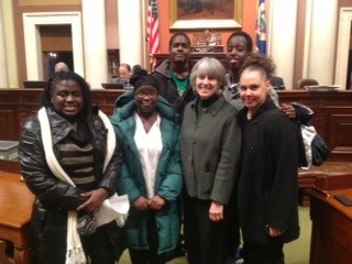 Representative Karen Clark, a long-time advocate of the Homeless Youth Act and a coauthor on the bill, invited the group to join her on the floor of the House chamber.