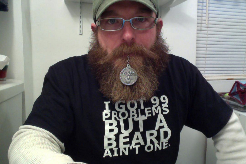 "Jacob Vreeland from Maine with his Beard Token. Get one for yourself or a bearded loved one in time for Christmas. Use the discount code, ""DECEMBEARD"" for 10% off when you check out at beardtoken.com."