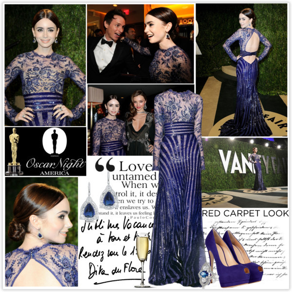 Lily Collins at Oscar's party. by sarahutcherson featuring peep toe pumps ❤ liked on Polyvore