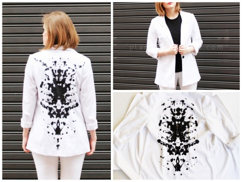 DIY Painted Rorschach Blazer DIY From Plan B Anna Evers here (the English translation). I love Rorschach prints and for a Rorschach roundup, nail art, fashion DIYs, wall art and more go here: truebluemeandyou.tumblr.com/tagged/Rorschach