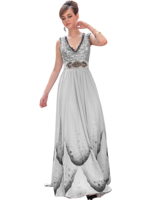 LAYLA IN SILVER JEWELLED EVENING DRESS W/ PRINT  SKU# 30617 Be the first to review this product Availability: In stock £245.00
