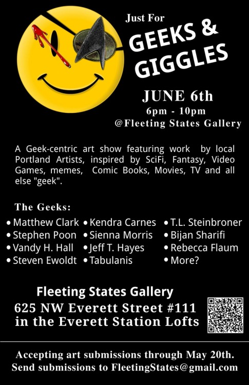 "fleetingstates:  More info on the upcoming ""Just for Geeks and Giggles"" gallery show on the Facebook event: https://www.facebook.com/events/128171704038101/"