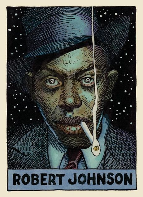 wnycradiolab:  motherjones:  Lunch break: William Stout's 100 Cartoon Portraits of Legendary Blues Artists.  These are so wonderful.  If you want more Robert Johnson, check out our story, Crossroads.