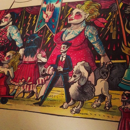 Detail from my Our Lady Of Sideshow which is in progress. #freakshow #freaks #sideshow #ourlady #monster #circus #carnivale #fair #penitents #art #lowbrow #watercolor #mariemeier for #tattooworld  #strasbourg #2013