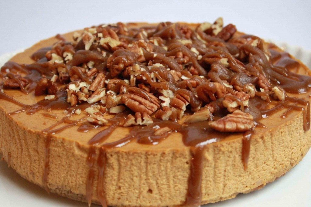 Pumpkin Cheesecake with Gingersnap/Pecan Crust and Maple Caramel Topping