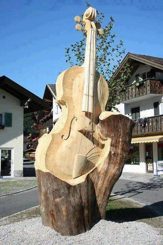 Tree Sculpture of a String Bass or Cello.  Cool!