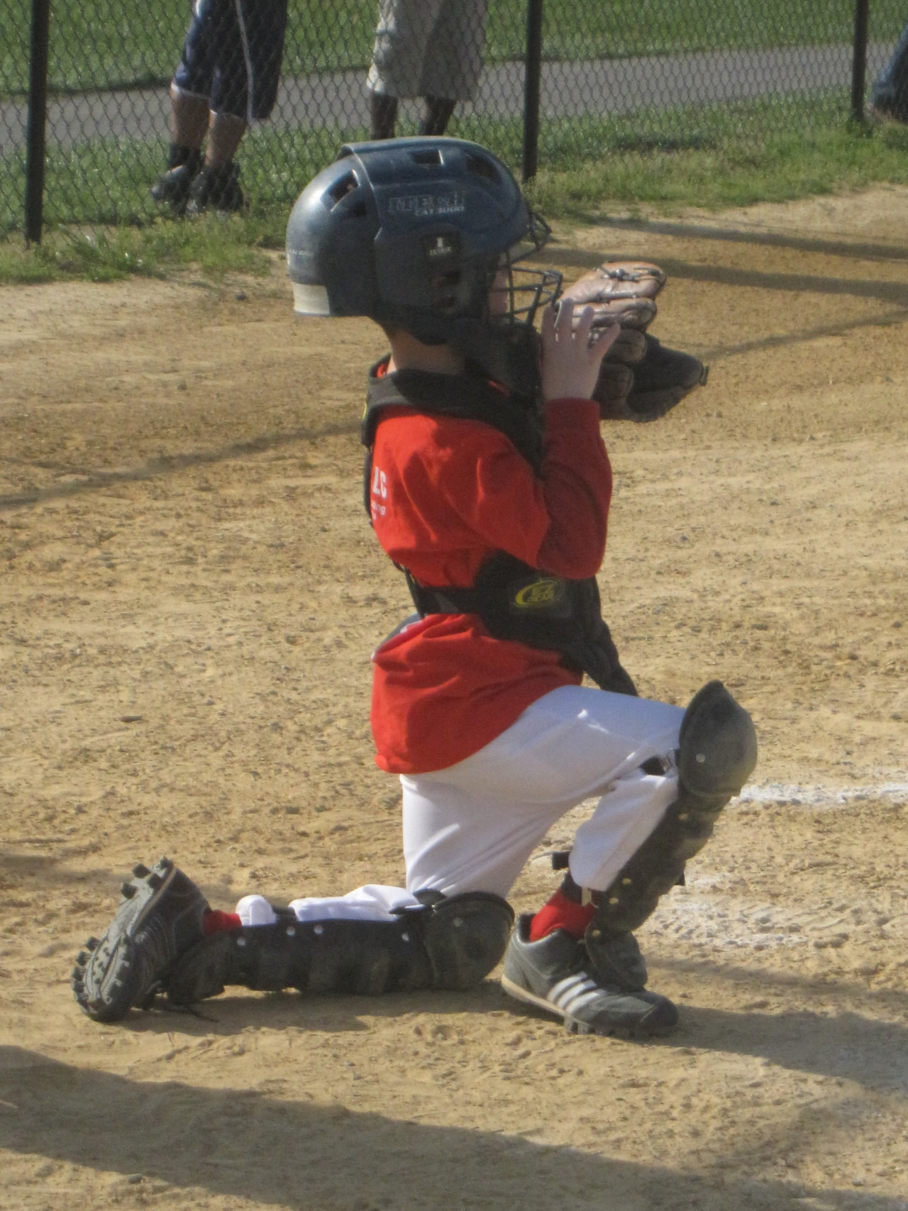 The Boy wanted to play catcher at our most recent game. When I asked him why he told me it was because it's the position I played. We went on to win 3-1 and he was instrumental in the game-winning run. What a great kid!