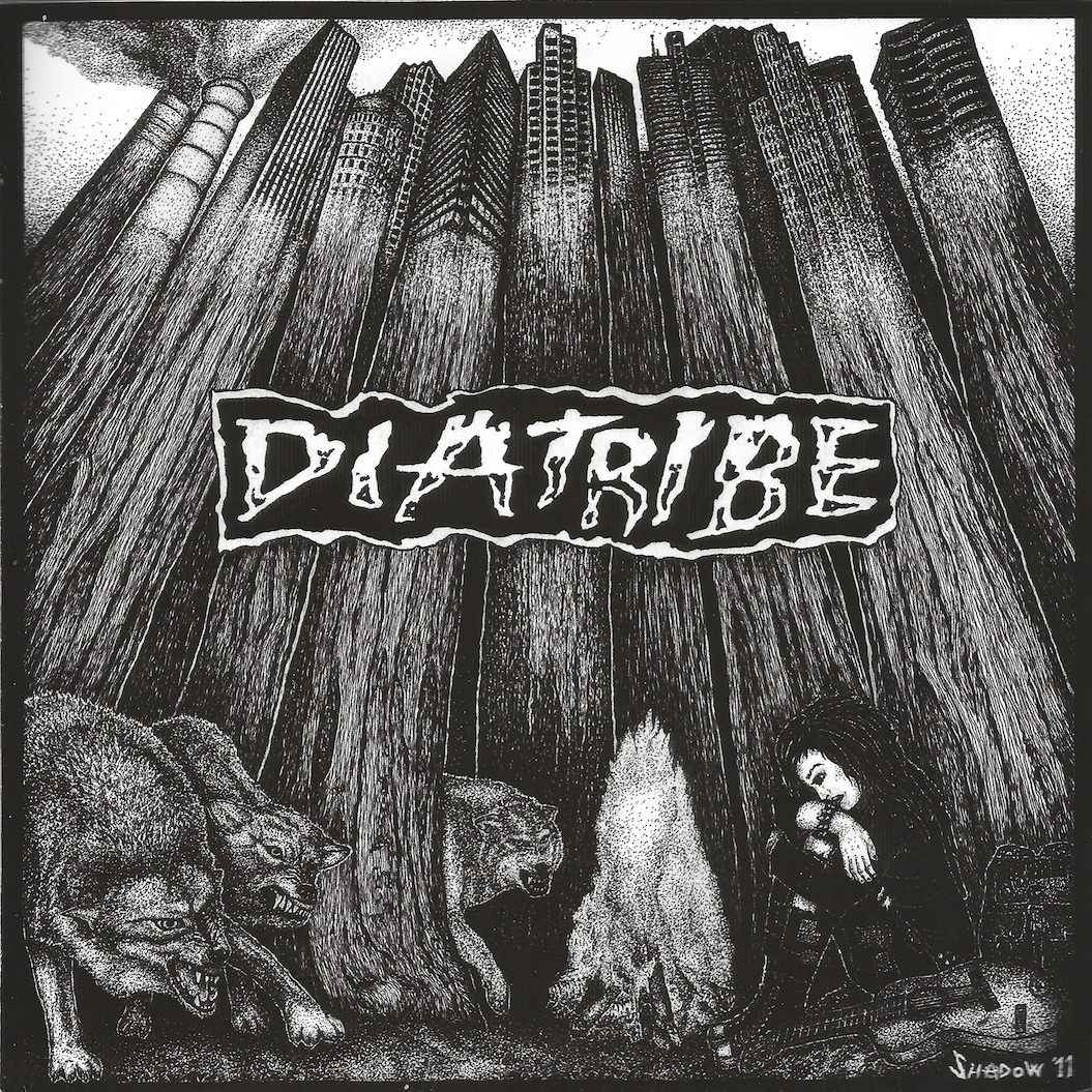 "DEATH CRISIS/DIATRIBE - split EP (Too Old To Die, San Diego) (Written by Ben Jensen) This is a split EP between two San Diego crust bands.  The DEATH CRISIS side starts its three-track run with some fairly by-the-book crust.  A pretty cool, drawn-out (by which I mean like 15 seconds), instrumental intro revs things up into a pretty standard-fare, beat-the-shit-outta-the-drumkit, make-as-much-distortion-as-fast-as-possible, Cryptkeeper vocals rampage.  Totally decent, well-played, fairly stoke-worthy but not EXTREMELY mind-blowing.  The second track is along the same lines, and just as good as the first.  DEATH CRISIS really takes off with the third track, though.  The first half is a gothy, sorta atmospheric take on crust that EXPLODES in the second half with crazy guitar noise and speed.  Cool shit.  DIATRIBE's side is apparently the first thing these d-beaters have released in over 20 years.  Their two tracks are cool, rowdy, fun, crashing, barely-controlled, speaking-in-tongues, lunatic sessions… but there's a really long audio sample between them.  C'mon, dudes: I've got CRASS records I don't listen to because of that; what makes you think YOU'RE gonna get away with it?  That sucks.  It's like skits on rap albums.  Or more like a losing game of solitaire: NO replay value.  I bet both of these bands are fun as shit live.  NOT SHITTY (I came SO close to giving this a 'KINDA SHITTY,' though, mostly cuz of the audio samples)  A review of the album's artwork: I like it when splits give each band one side of the cover, and TOO OLD TO DIE RECORDS was good enough to hook these two bands up.  I recognize the artist who did DIATRIBE's side; I'm not sure from where, though.  It's signed 'Shadow' with an anarchy sign for an 'a'.  Anyway, good art everywhere, lyrics sheets are included, and I like the Jesus graphic on DEATH CRISIS's half of the liners that says ""JESUS IS COMING… AND HE DOESN'T PULL OUT."" NOT SHITTY"