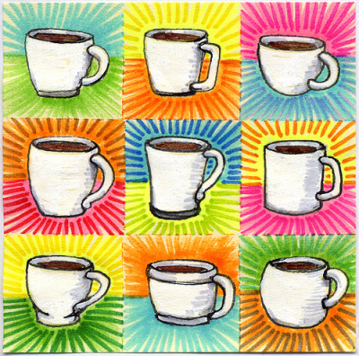 "I drew you 9 little white mugs of coffee Nine little white ceramic mugs all drawn on one little post-it just for you. I hope you like it. This is part of my ""The Daily Coffee"" marker drawing series."