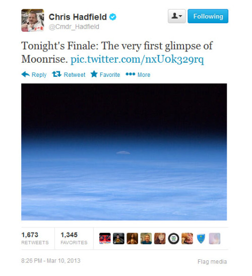 newshour:  Commander Chris Hadfield's tweets are literally out of this world. Nearly every day the astronaut tweets out photos and observations from space to his 500,000 plus Twitter followers and gives them a glimpse at his life in orbit. Learn more about his social media use here.