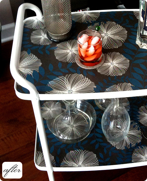 before & after: veronica's night table + jason's barcart (via design sponge)  The DIYs keep coming! Old smelly cart turned into a rad barcart. Sand paper, spray paint & wall paper!