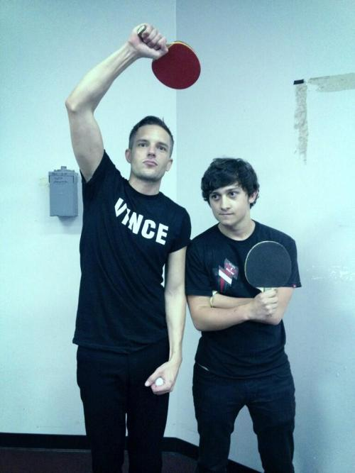 thekillersspain:  Brandon Flowers and Craig Roberts. Los Angeles, May 2.