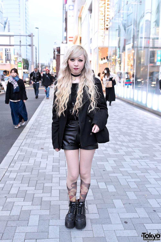 Long blonde hair, choker cameo necklace & cherub tights in Harajuku.