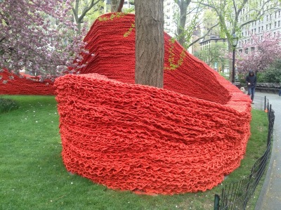 papermag:  Madison Square Park gets a knitted makeover from artist Orly Genger.