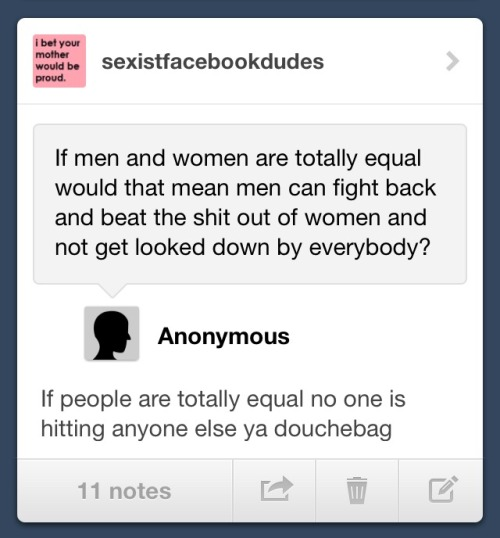thisisrapeculture:  sexistfacebookdudes:  Rebloggable by request  Isn't it interesting that so many people's first priority when it comes to equality is violence against women?