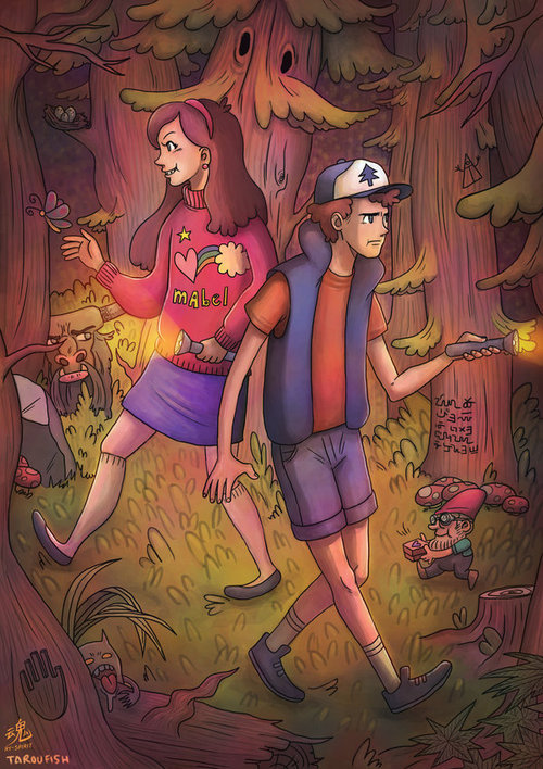 A collab Gravity Falls fan art with http://noisykid.tumblr.com/ , Tarou did the linework and I did the coloring. There's a Mystery to Solve!