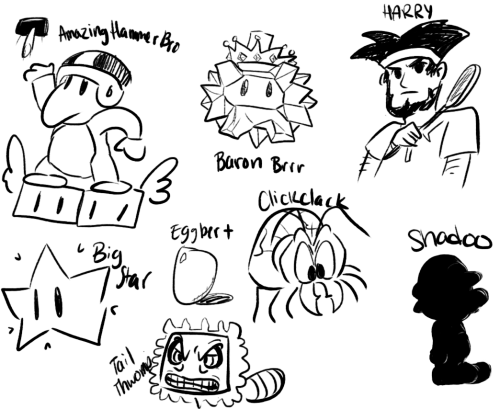 i did the draw the characters that show up when you click random on the mario wiki thing