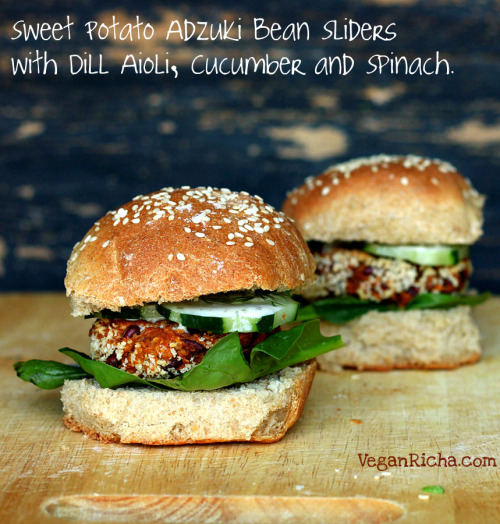 Sweet Potato Adzuki Bean Burger Gameday Sliders with Spinach, Cucumber, Dill Aioli