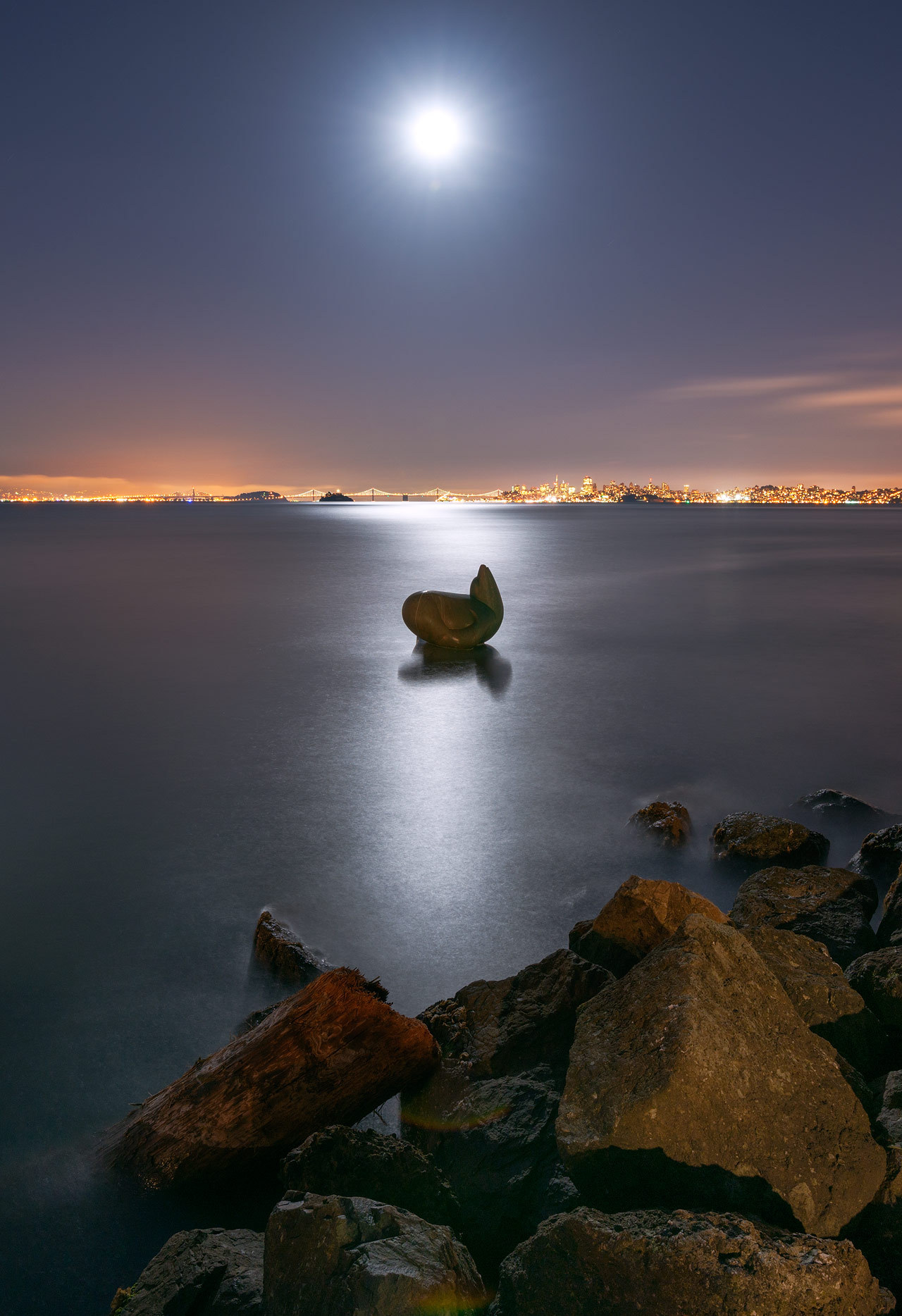 Moonlight Sentinel  Full moon rising in Sausalito  Sausalito detour, the day before these three photos were taken.  View on Flickr
