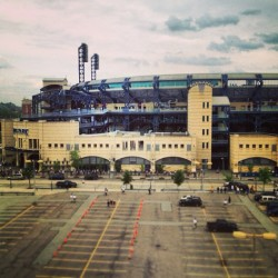 Arrived at Pittsburgh!…view from the hotel room…baseball game tonight? #pittsburgh #aapg #2013 # baseball #stadium  (at Hyatt Place Pittsburgh-North Shore)
