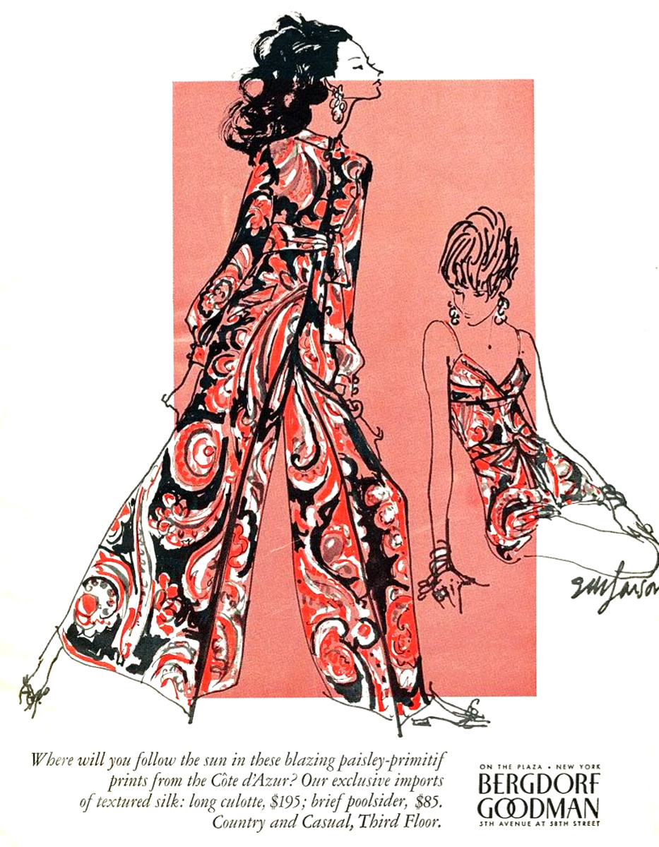 savetheflower-1967:  Paisley prints fashion ad, 1967.