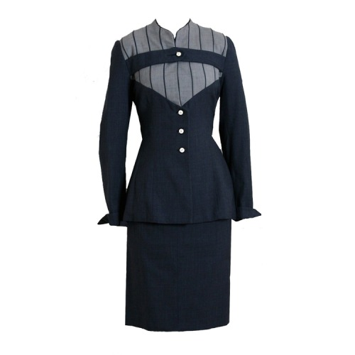 1940's Lilli-Ann Charcoal Gray Deco-Stripe Hourglass Dress Suit