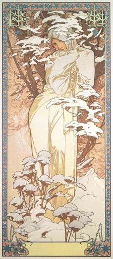 libraryseraph:  (via The Seasons: Winter - Posters - Browse Works - Gallery - Mucha Foundation)