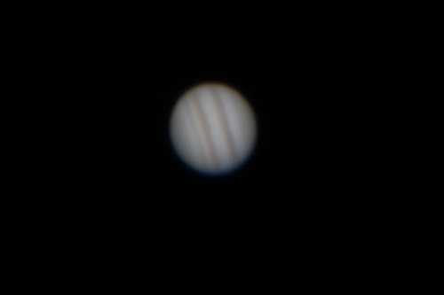 JOVIAN day Being the amateur astronomer I am, I spent a few hours at our clubs dark sky location.  After testing some new imaging equipment, I pulled out a Canon DSLR and snapped a few images of Jupiter, before coming home. This one is one of the better photos.