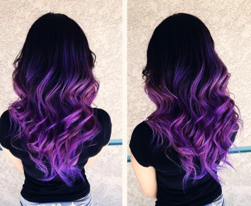 hair popular cute purple hair cute girl long hair pastel hair curly hair colored hair hairstyle dip dye black hair lilac hair dark hair ombre hair hair blog cute hairstyle