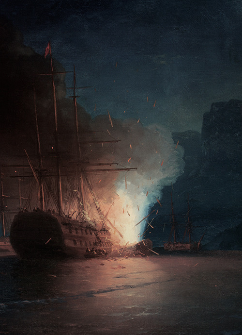 Ivan Aivazovsky, The Firing of the Turkish Fleet by Kanaris (detail), 1881