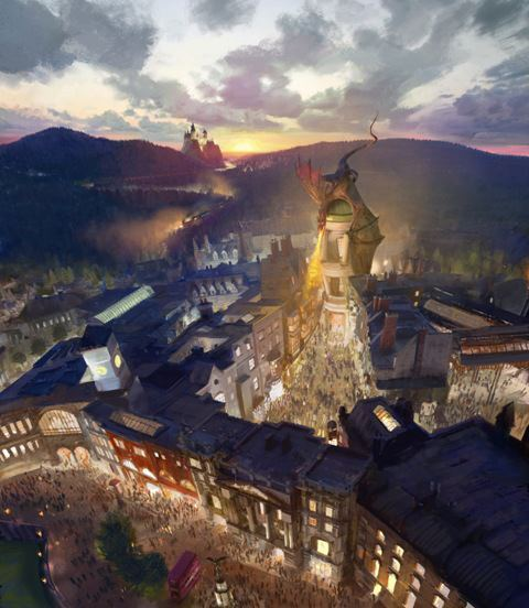 "Universal Orlando releases new concept art for the ""Wizarding World of Harry Potter"" expansion taking place at the location of the former ""Jaws"" attraction at Universal Studios. It will be modeled after Diagon Alley (no doubt an opportunity for MORE HP merchandise sales) with a ""Hogwarts Express"" link to the original ""Wizarding World"" at IOA. Rumors abound that there will also be a new ""roller coaster"" thrill ride at the expansion modeled after the Gringotts coaster seen in ""The Deathly Hallows"". So exciting! Read all about it here!"
