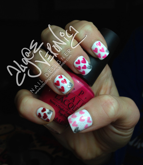 Simple Valentine's day nails! :)