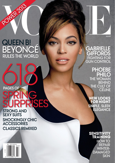 mirnah:   Beyoncé on the cover of Vogue March 2013 photographed by Patrick Demarchelier