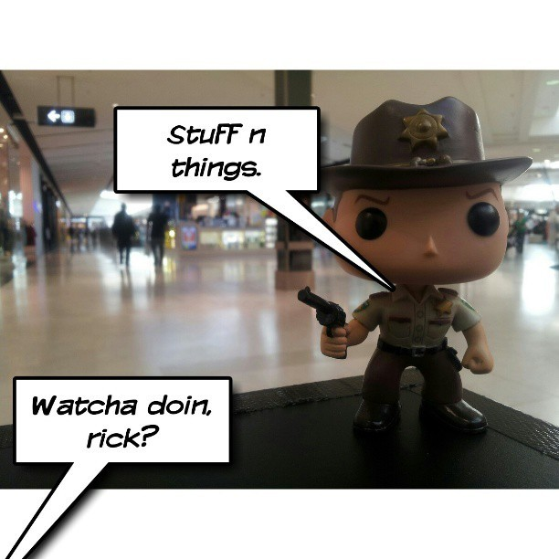 Really, he was food shopping. #thewalkingdead #rickgrimes #stuffnthings #funkopop #vinyltoys #toyphotography #picsay  (at Westfield Fountain Gate)