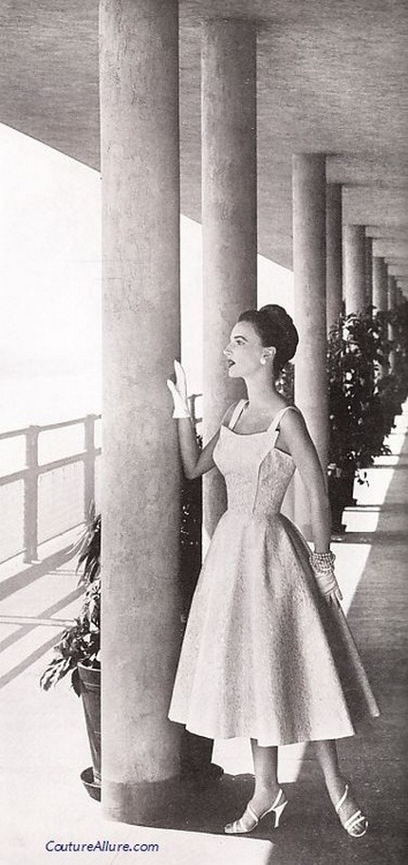 theniftyfifties:  Model wearing a dress by Pat Premo, 1956.