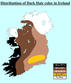 Distribution of Dark Hair in Ireland, via reddit