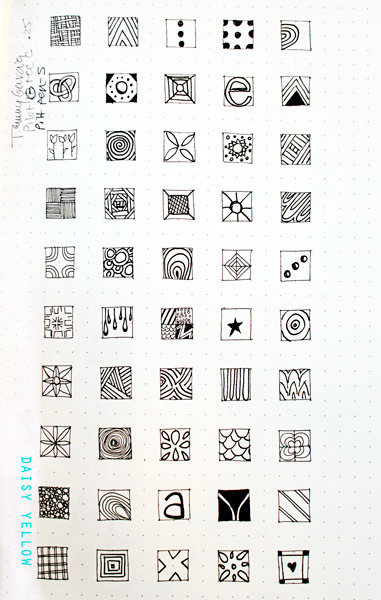 doodle boxes in the rhodia dot webbie for the 2012 rhodia journal swap. drew freehand boxes with hi-tec c pen {easier when there are already a grid of dots on the page!}, then drew different doodles in each box in that pen and with pitt pen as well.