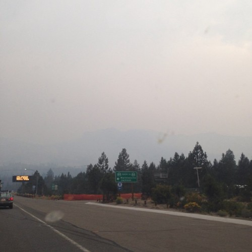 Echo summit from the west end of Meyers, so much fucking smoke rolled in this afternoon #kingfire #burnintrees #somuchsmoke #shit