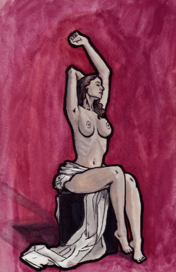Nude Watercolor, India Ink