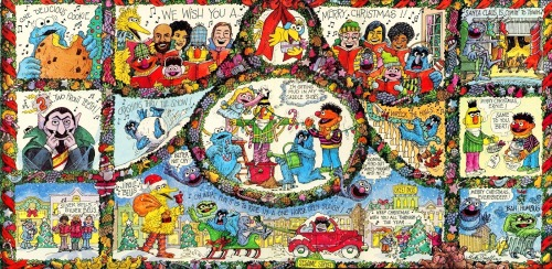 Gatefold image from the 1978 Merry Christmas from Sesame Street album.