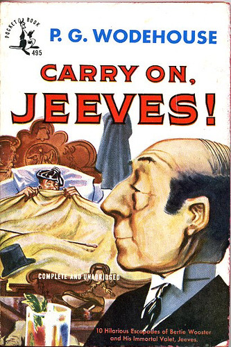pocket 495 by Kyle K on Flickr.Via Flickr: Carry On, Jeeves by P. G. Wodehouse. 1948. Cover by Louis Glanzman.