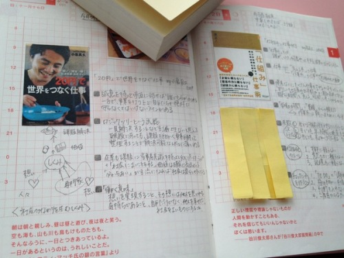 This Japanese user keeps track of favorite books by printing out an image of the book cover and pasting it on a planner page. One option is to post it when starting to read the book in order to provide a place to refer back to and record favorite phrases and thoughts while reading the book so they aren't forgotten by the time you reach the end of the book. Another option is to record when you finished the book by pasting it on the day of completion and then writing your overall thoughts. This makes it easy for avid readers to keep track of which books they've read and enjoyed, and for not-so-avid readers to have a point of reference for future book recommendations. Writers can also use this method to find inspiration in their own writing by drawing story charts and keeping notes from the book. This user also keeps track of books he wants to read in the future by printing out the book covers before hand and keeping them in the corner pocket of his planner cover. Source