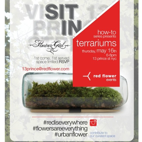 come make terrariums with us at red flower nyc THIS thursday, may 16! space is limited so RSVP ASAP!!   #urbanflower #rediseverywhere #flowersareeverything
